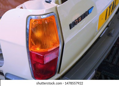 Long Hanborough, Oxfordshire, UK 10.08.2019 - Oxford Bus Museum and Morris Museum.  A display of buses, Morris cars and other forms of transport through the years. Rear lights on a Morris car shell.