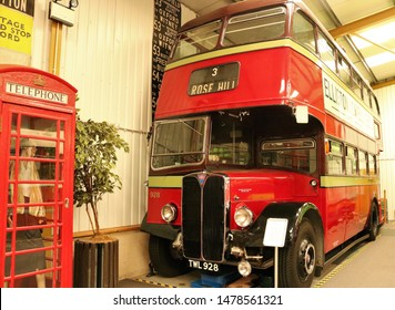 Long Hanborough, Oxfordshire, UK 10.08.2019 - Oxford Bus Museum and Morris Museum.  A display of buses, Morris cars and other forms of transport through the years.  928 double decker bus.