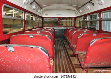 Long Hanborough, Oxfordshire, UK 10.08.2019 - Oxford Bus Museum and Morris Museum.  A display of buses, Morris cars and other forms of transport through the years.  Upper deck of a 928 double decker.