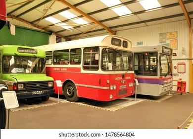 Long Hanborough, Oxfordshire, UK 10.08.2019 - Oxford Bus Museum and Morris Museum.  Buses, Morris cars and other forms of transport through the years.  Leyland AEC and Dennis Plaxton Pointer 3018.