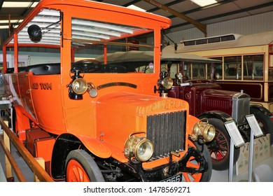 Long Hanborough, Oxfordshire, UK 10.08.2019 - Oxford Bus Museum and Morris Museum.  A display of buses, Morris cars and other forms of transport through the years.  BM2856 Charabanc 'Old Tom'
