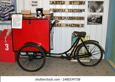 Long Hanborough, Oxfordshire, UK 10.08.2019 - Oxford Bus Museum and Morris Museum.  A display of buses, Morris cars and other forms of transport through the years.  GPO postman's tricycle.