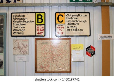 Long Hanborough, Oxfordshire, UK 10.08.2019 - Oxford Bus Museum and Morris Museum.  A display of buses, Morris cars and other forms of transport through the years.  Bus route signs Oxfordshire.