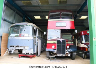 Long Hanborough, Oxfordshire, UK 10.08.2019 - Oxford Bus Museum and Morris Museum.  A display of buses, Morris cars and other forms of transport through the years.  AEC bus.