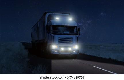 Long Haul overnight Trucking Logistics on a dark country highway road in South African Farmland region