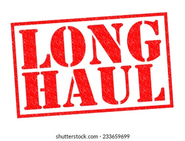 LONG HAUL red Rubber Stamp over a white background.
