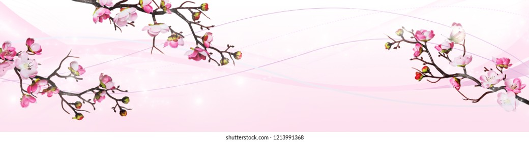 Long horizontal banner with beautiful pink cherry flowers with butterfly are on a pink background
