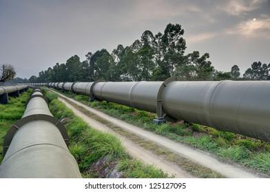 Long huge water pipes in Hong Kong