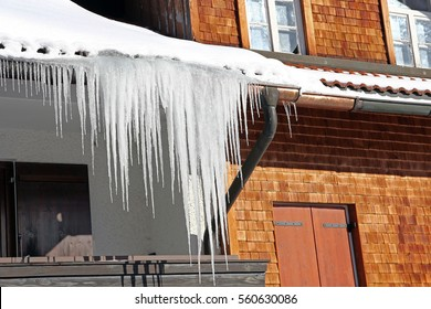 Long icicles at an old house