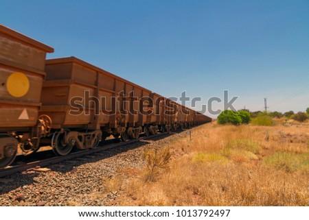 Long Iron Ore Freight Train Pilbara Stock Photo (Edit Now