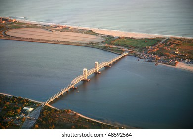 long island bridge aerial view