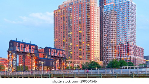 Long Island City New York, sign and modern architecture in Gantry Plaza Park Queens