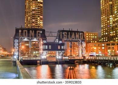 Long Island City, New York - January 2, 2016: Pier of Long Island near Gantry Plaza State Park - borough of Queens - New York City.