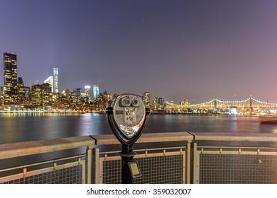 Long Island City, New York - January 2, 2016: New York City skyline view from Gantry Park, Long Island City, Queens.