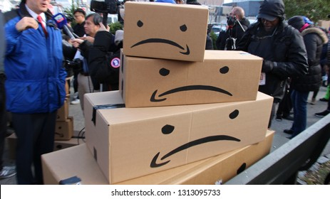 Long Island City, Queens, NY - 2018 : Amazon Protests outside potential headquarters HQ2 building in LIC New York.