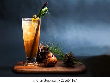Long island ice tea cocktail isolated on black background