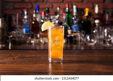 Long Island Iced Tea Cocktail on a Bar