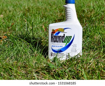 LONG ISLAND NEW YORK CIRCA OCTOBER 2019. Roundup weed killer used to kill weeds in lawns, gardens and farms is the subject of multiple lawsuits claiming its key ingredient glyphosate is tied to cancer