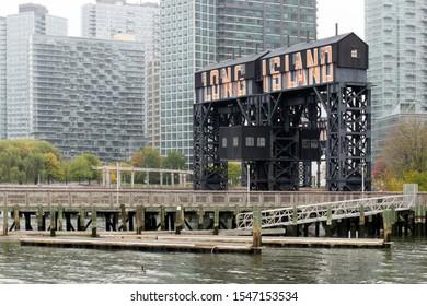 Long Island New York USA October 22 2019 Historic transfer bridges in Gantry Plaza state park