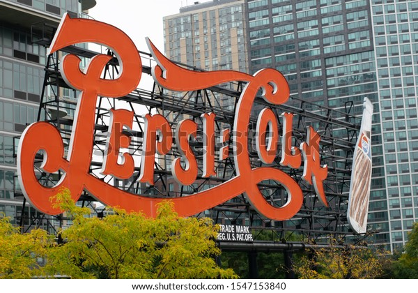 Long Island New York USA October 22 2019 Pepsi cola sign in Gantry Plaza State Park Queens