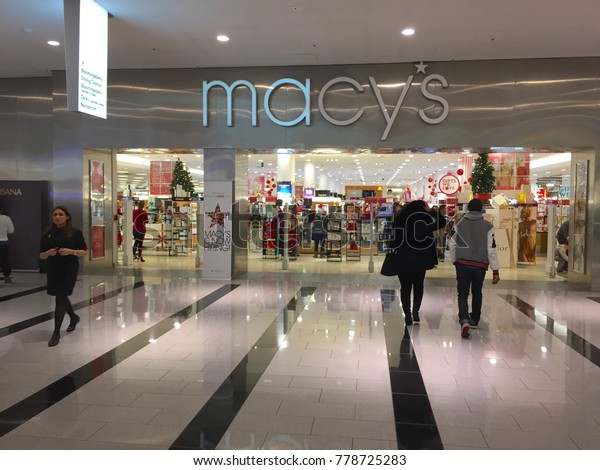 Long Island, NY - Circa 2017: Macy's retail department store location in Roosevelt Field Mall. Sponsor of Thanksgiving day parade