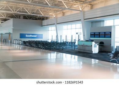 Long Island, NY - Circa 2018: Southwest Airlines empty passenger terminal gate at Islip airport no people. Check in location before boarding airplane to travel to destination