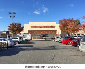 Long Island, NY - October 2016: The Home Depot exterior store front. Home improvement supply superstore that sells tools, construction products, services. Operate big-box stores in United States.