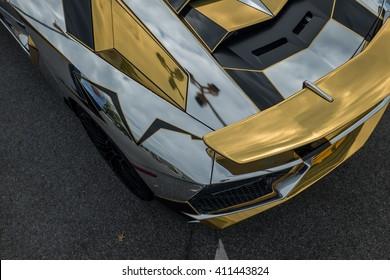 Long Island,NY - September 2015: At a free car show in Long Island, a unique chrome wrap can be seen on a Lamborghini Aventador SV.