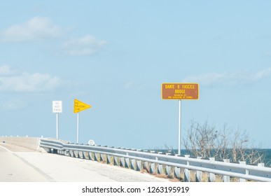 Long Key, USA - May 1, 2018: Information traffic sign for Dante B Fascell bridge along overseas highway, freeway road, street in Florida island city