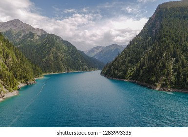Long lake at Jiuzhaigou Valley in Sichuan China, aerial photo