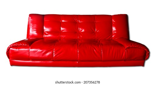 long leather red chester sofa isolated on white