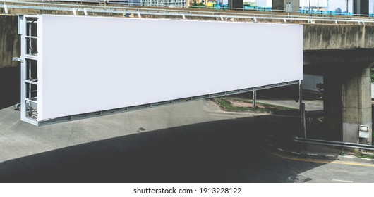 long led blank billboard white screen hang on high way road in city. ad mockup copy space for advertising banner near bus stop in metropolis.