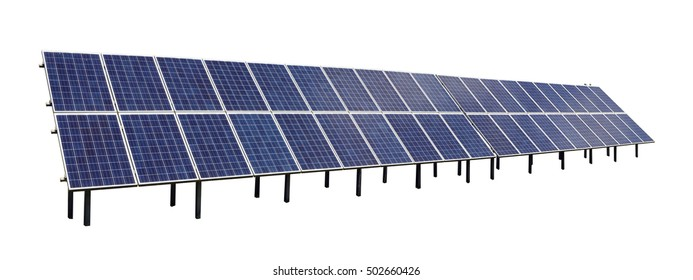Long line of forty standard  solar electric  panels as uniform generator of energy. Isolated on white industrial object
