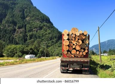Long logging truck in Canada