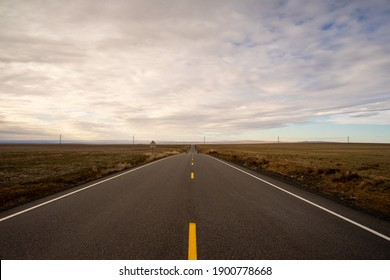 A long lonely road cuts through farms in rural Washington State.