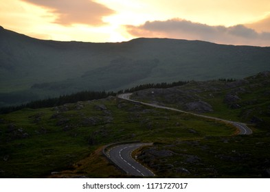 A long lost road in Ireland (County Kerry, Ireland), while the sun is setting.