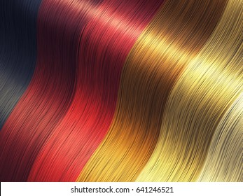 Long luxurious hair color palette , Hair care and coloring , 3d illustration