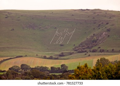 The Long Man of Wilmington, and archaeological site in the Sussex Downs, near Eastbourne England, UK.