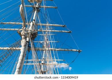 Long mast of a sailing ship frigate