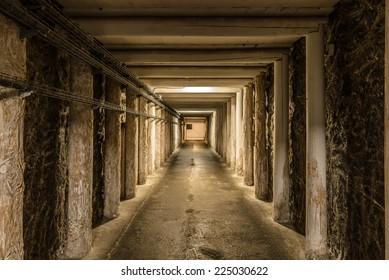 Long mineshaft hallway with wood support beams. Wieliczka Salt Mine - Krak�³w, Poland.