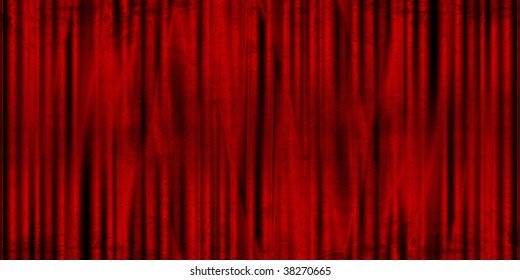Long movie or theater curtain with dark shades