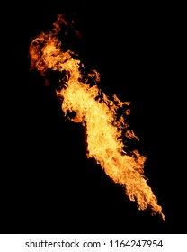 Long narrow flame isolated on black, fire stream