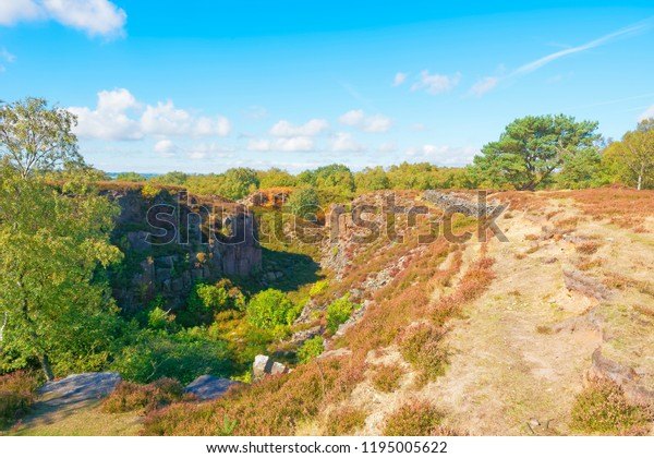 Long, narrow and overgrown gritstone quarry on Stanton Moor in Derbyshire