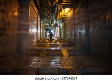 long narrow street in the Old City of Jerusalem
