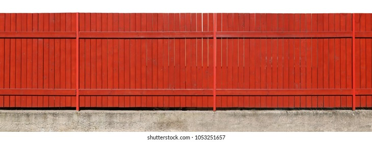 Long orange painted  solid wooden fence on the concrete base. Isolated on white panoramic collage. Sunny spring day outdoor shot