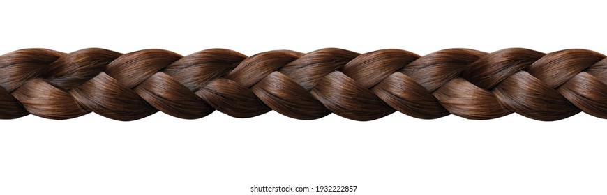 long panorama, geometric seamless pattern for the designer, long beautiful hair in thick braid, concept of hygiene, hair care, traditions