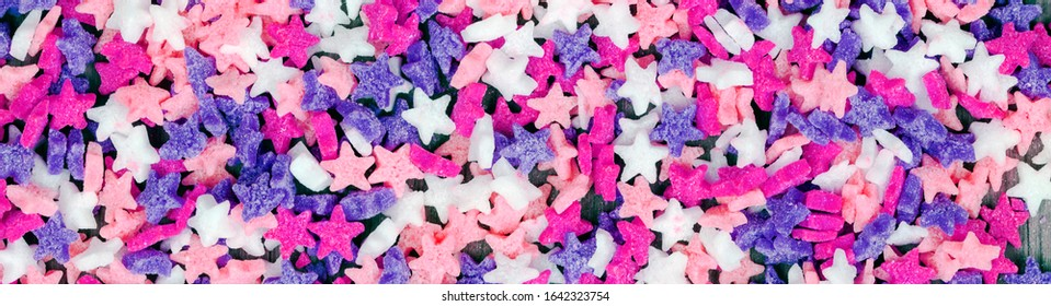 Long panorama of stars in sweet candy, for starry themes, and concepts of cooking, baking and food designs - creative & inspirational background texture / banner.