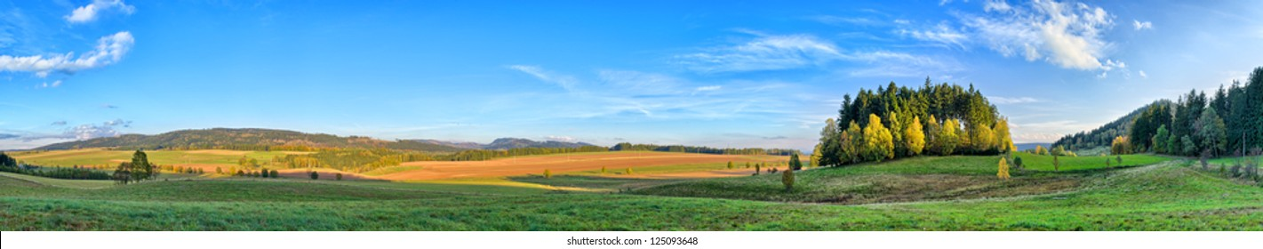 Long panorama in Sudeten Mountains with little forest
