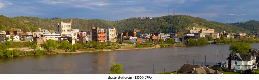 Long panoramic view of the downtown city center of Wheeling West Virginia