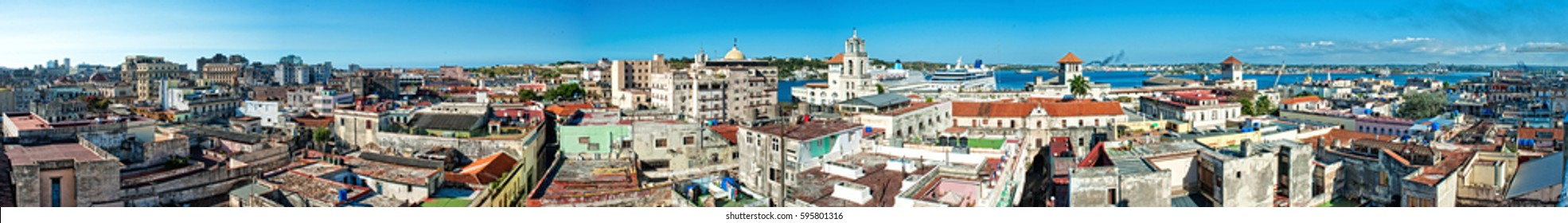 long panoramic view of havana city taken to the high building